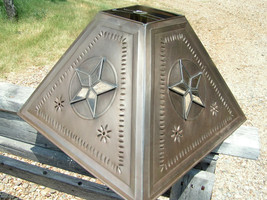 Metal Tin Punch lampshade Western glass Star LAMP SHADE extra LARGE bz 1003 - $139.98