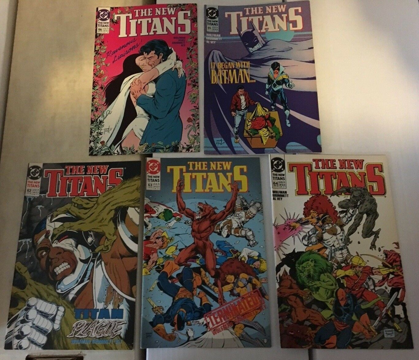 Primary image for The New Teen Titans 62 - 66 1990 VF+/NM Condition DC Comic Book Lot Of 5