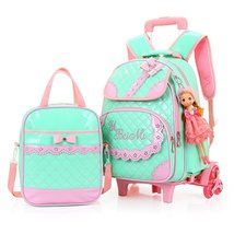 2Pcs Bowknot Rolling Backpack Cute School Backpack Kids Backpack with Wheels - $115.99