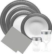 Decor Elegant Disposable Premium Dinnerware Symphony Collections, Silver & White - $59.99