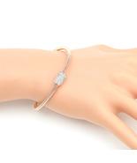 UE- Sleek Designer Rose Tone Wrap Bangle Bracelet With Swarovski Style C... - $18.99