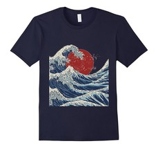 Traditional Japanese Ocean Wave Sunrise Print T-Shirt Men - $17.95+