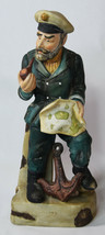"""13"""" Vintage Porcelain Statue Old Seaman Seawolf Pipe Smoking Holds Map A... - $37.99"""