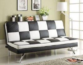 Retro Checker Board Sofa Bed Black White Futon Sleep Furniture Modern Chair Room - $559.50