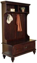 Stand Espresso Finish Hall Tree Coat Rack Closet Organizer Door Furnitur... - $440.27