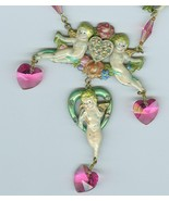 Enameled Hearts Flowers Cupids Swarovski Crystal Necklace Costume Jewelry - $16.99