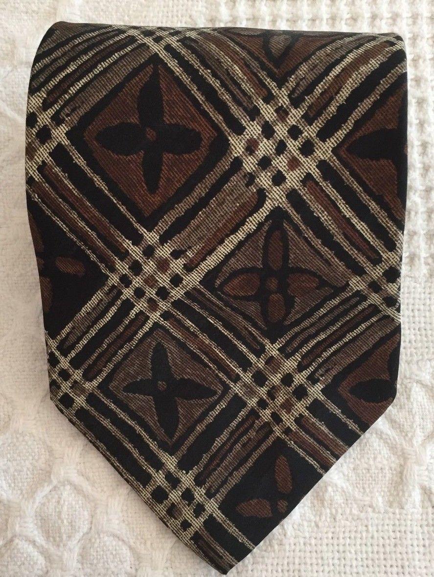 """GEOFFREY BEENE Mens Brown Taupe FLORAL Plaid Necktie Tie 100% Silk 57"""" x 3.75"""" image 5"""