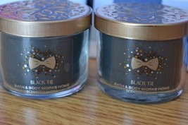 Bath & Body Black Tie Mini Candles Bundle Of Two (2) 1.3 Oz Rare Scent! - $21.56
