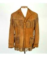 Vtg 80s Schott Brown Suede Leather Fringe Jacket Easy Rider Western Bike... - $197.99