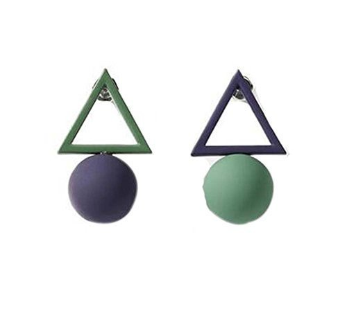 European Style Simple Triangles Temperament Earrings Asymmetric Earrings,Purple