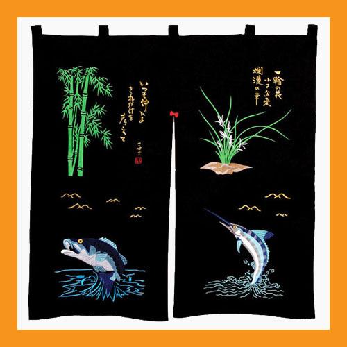 embroidered noren panels sushi curtains doorway valances restaurants bar - 10 - $32.00