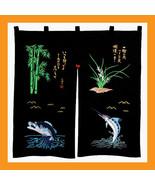 embroidered noren panels sushi curtains doorway valances restaurants bar... - $32.00