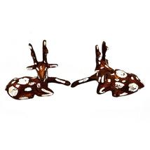 Set of 2 Decorative Distressed Finish Deer Figurines Traditional  Handic... - $32.99