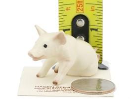 Hagen Renaker Miniature Farm Pig Sitting White Ceramic Figurine image 2