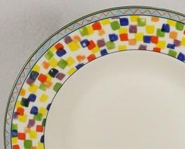 Mikasa Confetti 4 Salad Plates-Super Strong Fine China-Color Blocks-2 Av... - $54.95