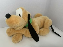 "Disney Pluto plush 14"" stuffed Mickey puppy dog green collar lying down ... - $8.90"