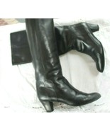 Raphael Salato Roma SZ 40 US 9 VTG Knee High Black Leather Boots Made in... - $123.75