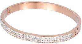 Women's Single Line Cubic Plain Stainless Steel Bracelet - Rose Gold - A... - $91.68