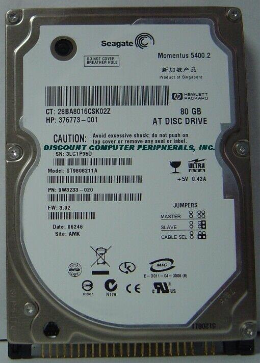 "New Seagate ST9808211A 80GB IDE 44PIN 2.5"" 9.5MM Hard Drive Free USA Ship"