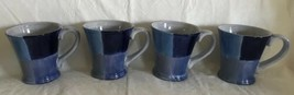 Set of 4 Tabletops Unlimited Quadrettini Blues Blocked Patches Coffee Mug Cups - $29.69