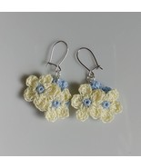 Yellow Crochet Flower Earrings / Crochet earrings / Handmade Flower earr... - $11.00