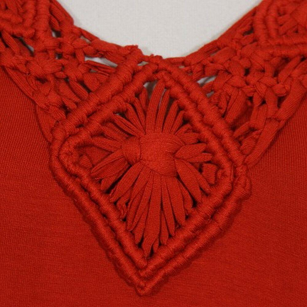 RALPH LAUREN Red Stretch Viscose Jersey Knit Macrame Neck Maxi Dress L image 3