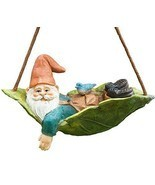 Twig & Flower Harley Happy Miniature Leaf Hammock Gnome with His Best Bl... - $21.12