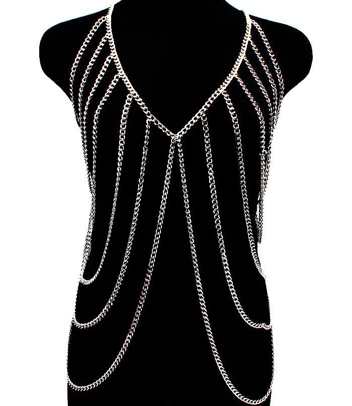 Body Chain Silver Armor Draping Chains Avant Garde Designer Style Statement