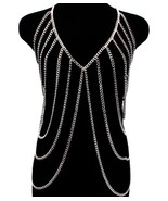 Body Chain Silver Armor Draping Chains Avant Garde Designer Style Statement - $34.99