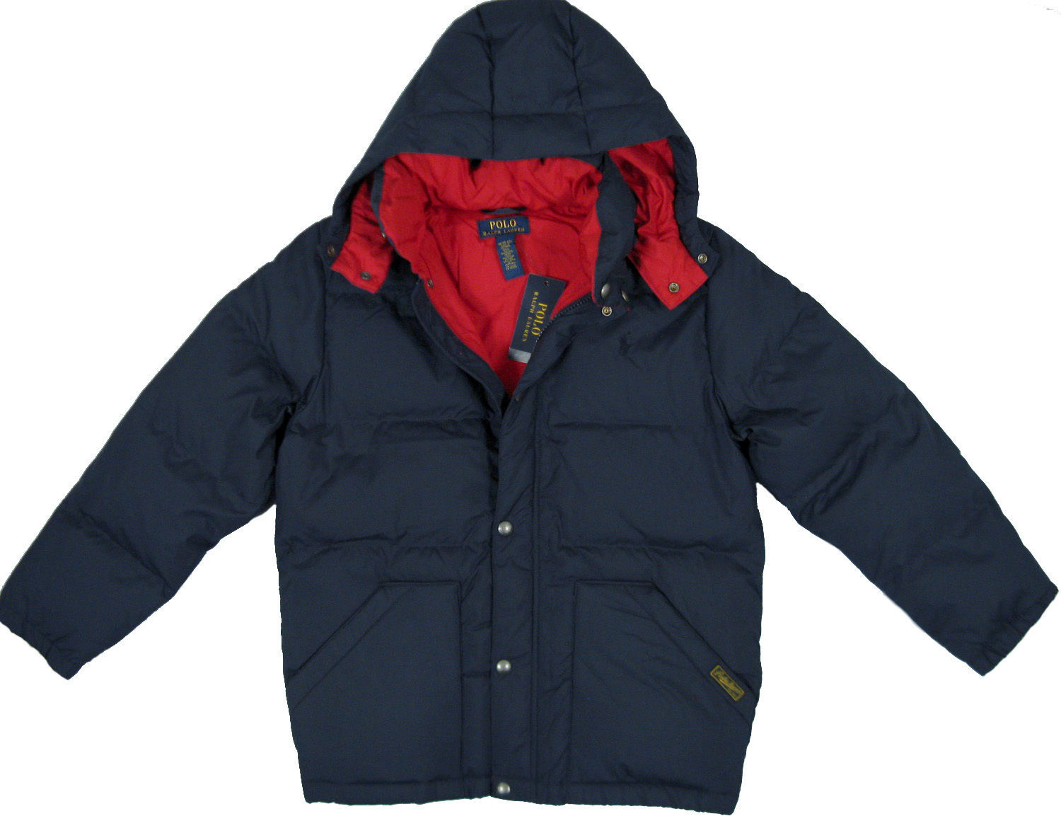 af62d5768ac9 NEW Polo Ralph Lauren Boys Down Puffer Jacket! Orange or Navy  Insulated  Hood