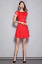 New style short lace gauze slim round neck party dress - $29.99
