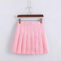 Women Girls Campus Style Pleated Mini Skirt School Skirt, Black White, Plus Size image 5