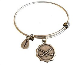Bella Ryann Hockey Round Silver Charm Bangle Bracelet