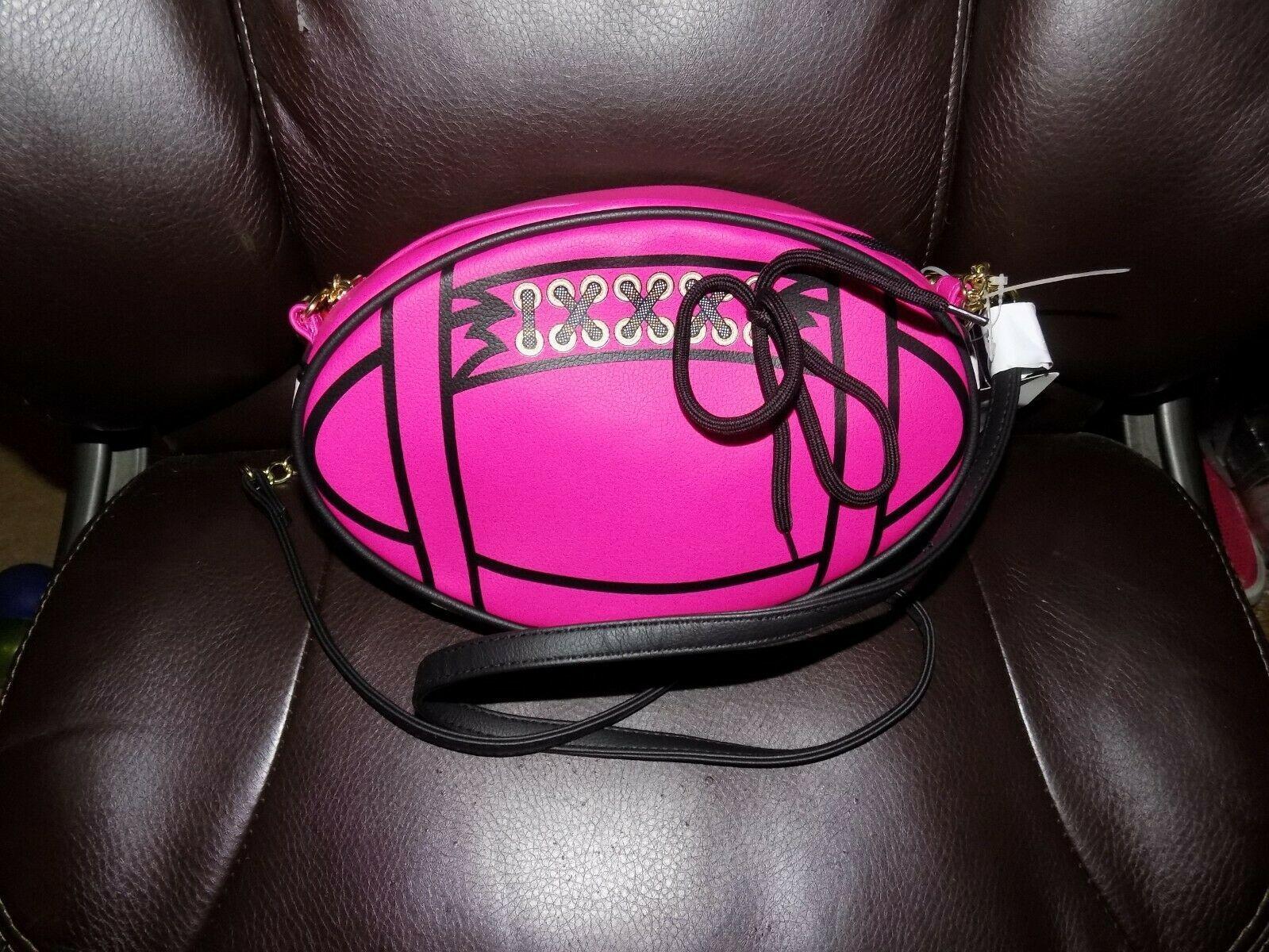Betsey Johnson Fushia Football Crossbody Purse/Bag NEW - $66.00