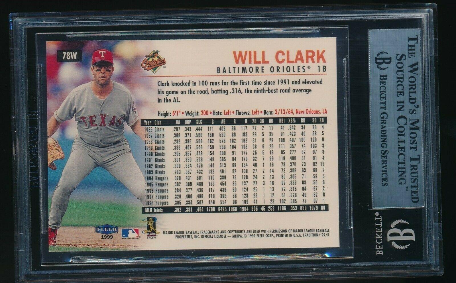 1999 Fleer Tradition Warning Track Will Clark BGS 9 HTF