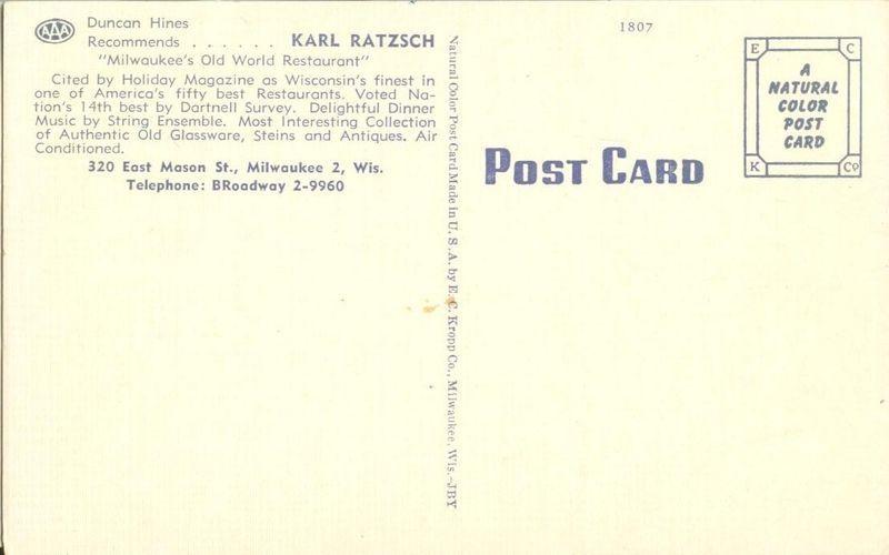 Karl Ratzsch's Milwaukee's Old World Restaurant, Milwaukee, Wisconsin, Postcard