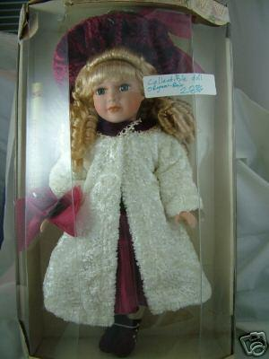 Image 1 of Mint Collector's Choice, Beautiful Blonde Doll in Burgundy w/White Chenille Coat