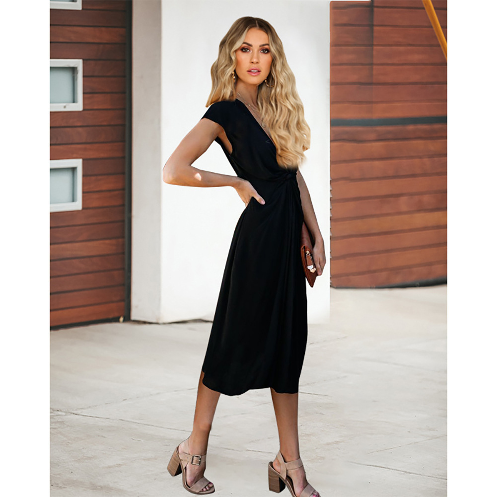 Black  V-Neck Short Women Skirts With Short Sleeve Prom Party Gowns Summer 2019