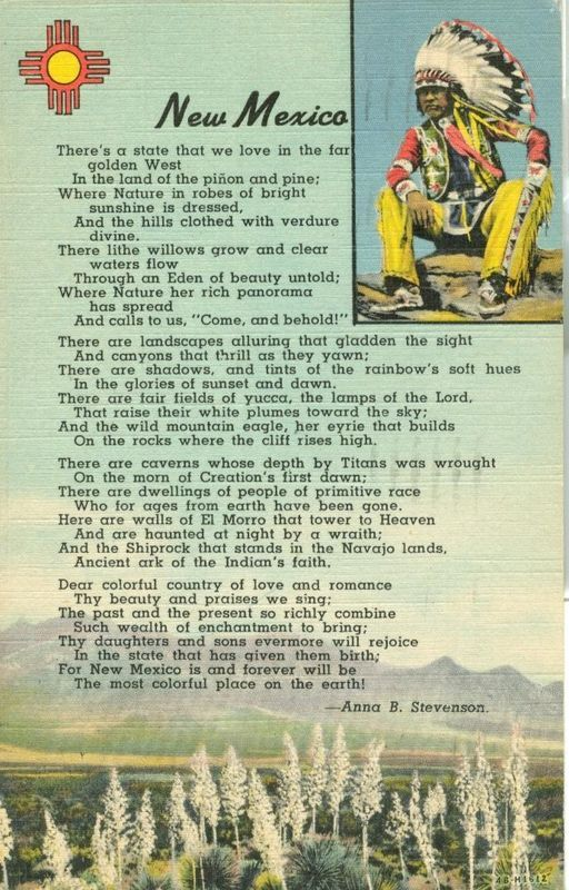 New Mexico poem by Anna B. Stevenson 1948 used linen Postcard