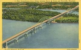 New Susquehanna River Bridge near Perryville, Maryland 1953 used linen P... - $4.99