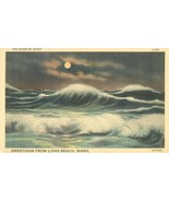 The Ocean by Night, Greetings from Long Beach, Wash, unused linen Postcard  - $4.99