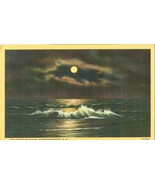 The Ocean by night, Hampton Beach, NH, 1948 used linen Postcard  - $4.99