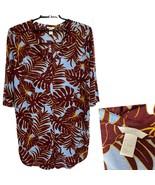 H&M women's long top blouson 3/4 sleeve button front size L - $15.72
