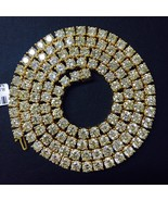 70.00 Carat Round White Diamond Tennis Chain Necklace 14K Yellow Gold - $46,509.34+