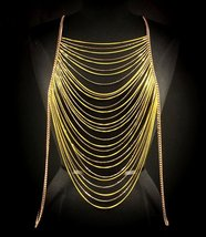 Body Chain Yellow Neon Gold Armor Draping Chain... - $23.99