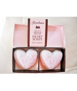NEW IN BOX TWO'S COMPANY SET OF 2 FRENCH MILLED HEART SOAPS, GARDENIA SCENT - $5.49