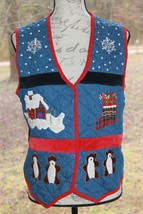 New Directions Size Medium Ugly Christmas Vest Snowflakes Stockings Bear... - $18.99