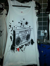 Boom Box Tank Top or T shirt white - $24.06