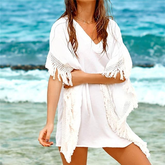Sexy See Through Swimwear Swim Suit Cover Ups Tunic Women Summer Beach Top White