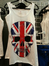 British Flag Skull Tank Top white - $26.89